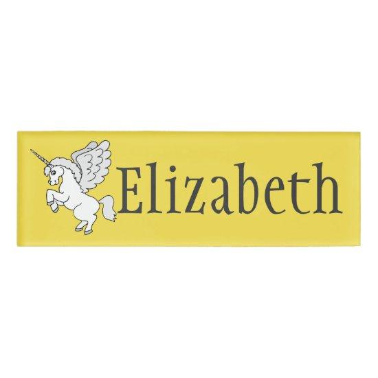 White Unicorn Yellow Personalized Name Tag