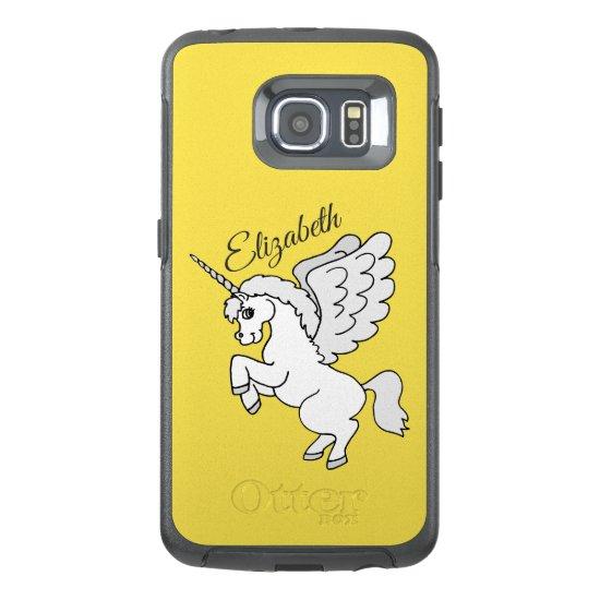 White Unicorn Yellow Personalized OtterBox Samsung Galaxy S6 Edge Case