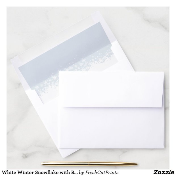 White Winter Snowflake with Blue Background Envelope Liner