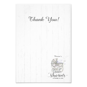 White Wood & Carriage Boy Baby Shower Thank You Card