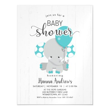 White Wood Teal Elephant Baby Shower Invitation