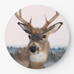 Whitetail Deer Double Exposure Wall Clock