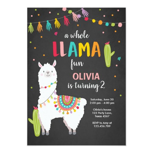 Whole llama fun birthday invitation Alpace Cactus