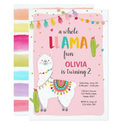 Whole llama fun birthday invitation Alpace Fiesta