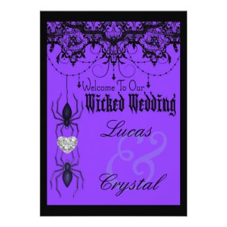 Wicked Victorian Spider Purple Halloween Wedding Invitation
