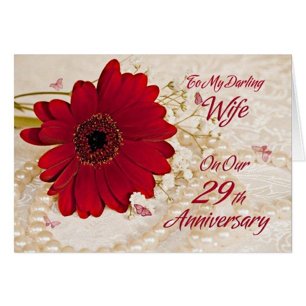 Wife On 29th Wedding Anniversary, A Daisy Flower Card