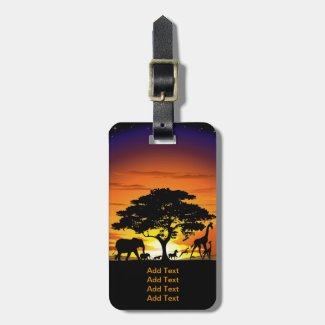 Wild Animals on Savannah Sunset Luggage Tags