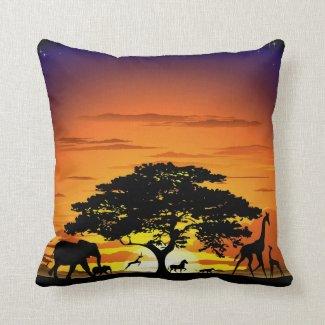 Wild Animals on Savannah Sunset pillow