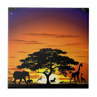Wild Animals on Savannah Sunset tile