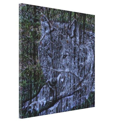 Wild camouflage woodland wildlife Grey wolf Canvas Print
