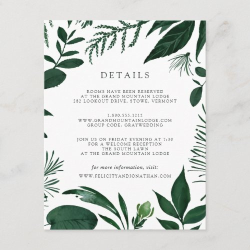 Wild Forest Guest Information Card