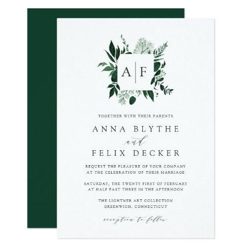 Wild Forest Monogram Wedding Invitation