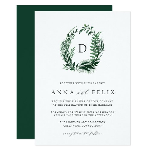 Wild Forest Monogram Wedding Invitation