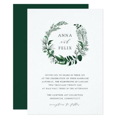 Wild Forest Wreath Wedding Invitation
