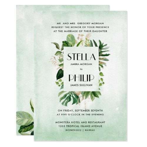 Wild monstera tropical foliage formal wedding invitation