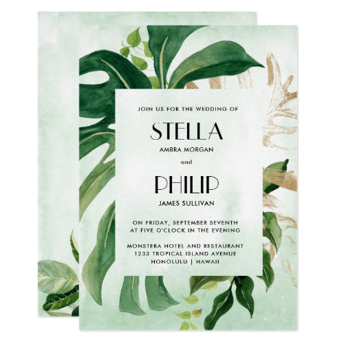 Wild  monstera tropical gold leaves wedding invitation
