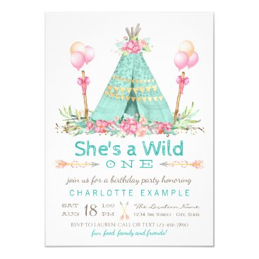 Wild One Birthday Party Teepee First Birthday Invitation