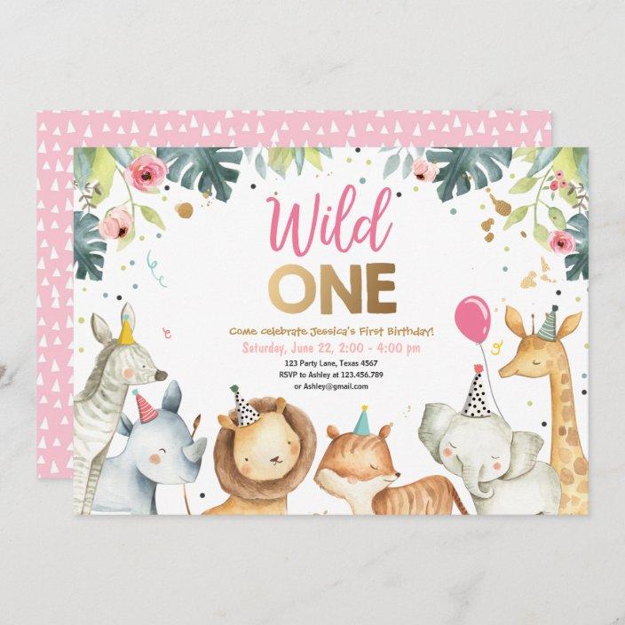 wild one safari gold girl animals birthday party invitation zazzle com