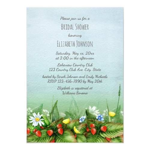 Wild strawberries wildflowers meadow bridal shower card