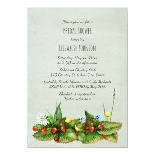 Wild strawberry meadow flowers green bridal shower card