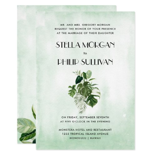 Wild  tropical foliage formal wedding invitation