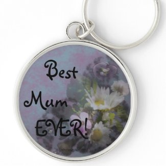 wildflower, Best Mum EVER! heart keychain