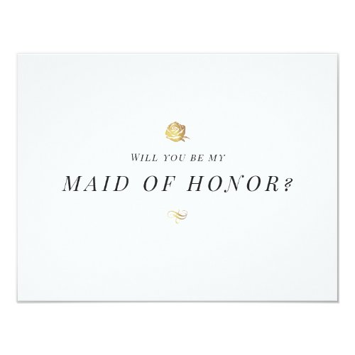 Will you be my maid of honor floral minimalist invitation
