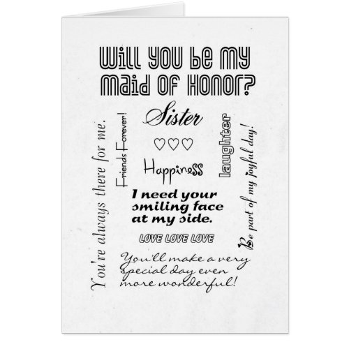 Will You Be My Maid of Honor, Sister? Greeting Card