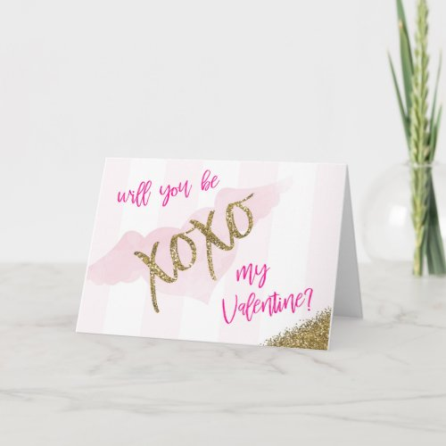 Will You Be My Valentine Chic XOXO Card