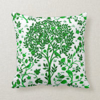 William Morris Tree of Life, Emerald Green & White Throw Pillow