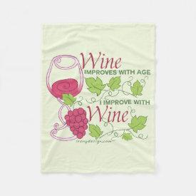 Wine Improves With Age Fleece Blanket