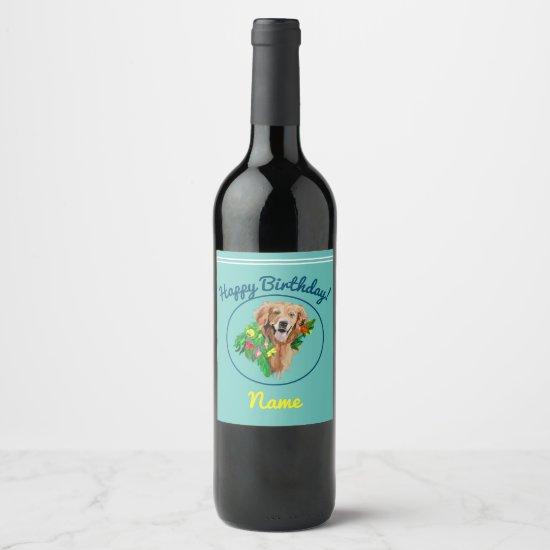 Wine Label Happy Birthday Golden Retriever