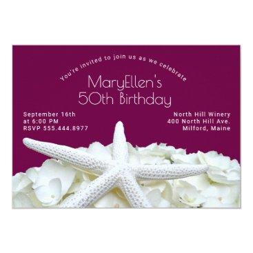 Wine Starfish Hydrangea Birthday For Her Invite