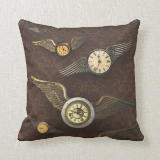 Wings of Time Steampunk Timepieces Take Flight Pillow