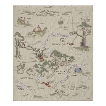Winnie the Pooh | 100 Acre Wood Map Poster