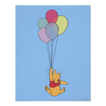 Winnie the Pooh and Balloons Poster
