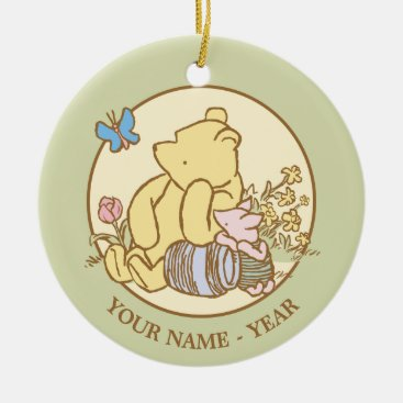 Winnie the Pooh and Piglet   Classic Add Your Name Ceramic Ornament