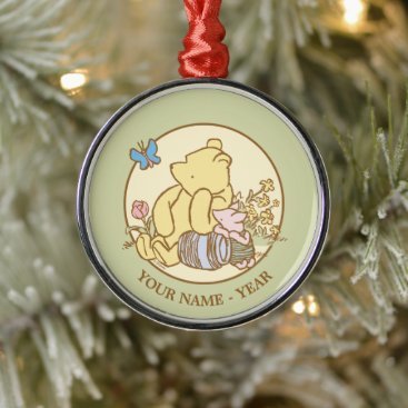 Winnie the Pooh and Piglet | Classic Add Your Name Metal Ornament