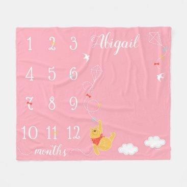 Winnie the Pooh   Pink Baby Monthly Milestone Fleece Blanket