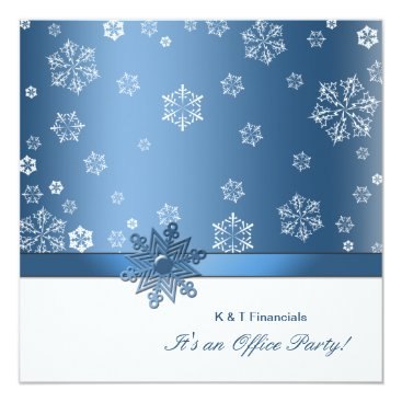 Winter Blue & White Snowflake Office Party Invites