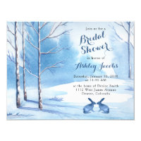 Winter Bridal Shower Invitation Trees Rabbits