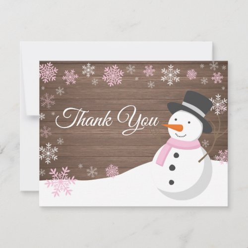 Winter Christmas Snowman Pink Thank You Card
