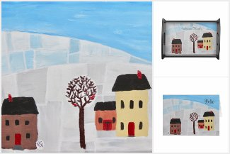 Winter Folk Art Painting