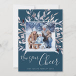 Winter Greenery Teal New Year Cheer Year In Review Holiday Card