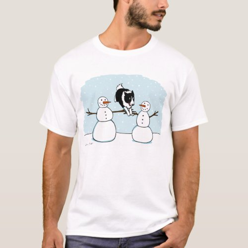 Winter Holiday Border Collie Dog with Snowmen T-Shirt