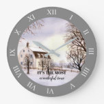 Winter in New England with Roman Numbers Large Clock