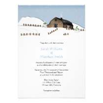 Winter Landscape Barn Wedding Invitations