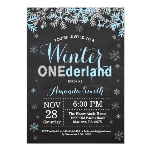 Winter Onederland Blue Silver Boy 1st Birthday Invitation