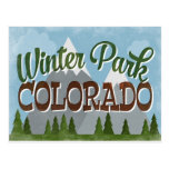 Winter Park Colorado Fun Retro Snowy Mountains Postcard