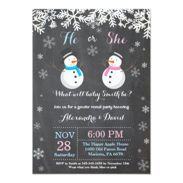Winter Snowman Gender Reveal Invitation